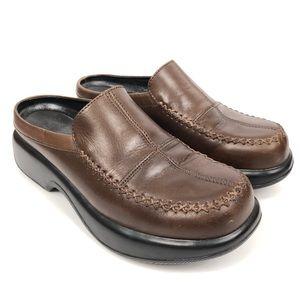 Dansko Dark Brown Leather Clogs Slip On Mules